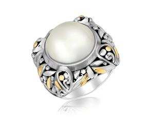 Pearl Accented Round Leaf Design Ring in 18K Yellow Gold and Sterling Silver