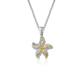 Starfish Pendant in Sterling Silver and 14K Yellow Gold