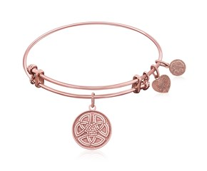 Expandable Pink Tone Brass Bangle with Celtic Round Completeness Of Self Symbol