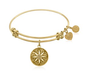 Expandable Yellow Tone Brass Bangle with Compass Personal Direction Symbol