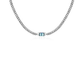 Blue Topaz and White Sapphire Embellished Woven Chain Necklace in Sterling Silver