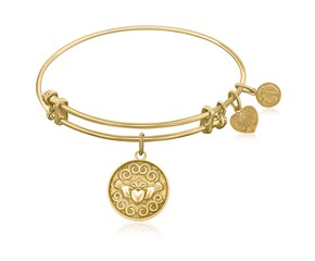 Expandable Yellow Tone Brass Bangle with The Claddagh Love And Friendship Symbol
