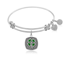 Expandable White Tone Brass Bangle with Four Leaf Clover Luck Symbol