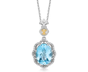 Fancy Oval Blue Topaz and Diamond Accented Fleur De Lis Motif Pendant in 18K Yellow Gold and Sterling Silver (.03 ct. tw.)