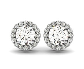 Round Halo Style Earrings with Diamonds in 14K White Gold (1 1/6 ct. tw.)