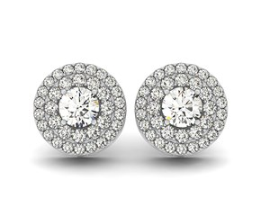 Double Halo Round Diamond Earrings in 14K White Gold (1 1/4 ct. tw.)