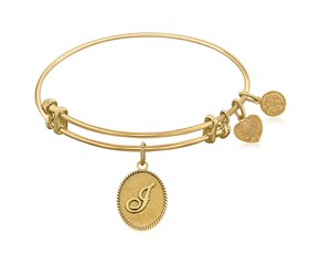 Expandable Yellow Tone Brass Bangle with Initial J Symbol