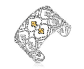 Diamond Embellished Byzantine Open Cuff in 18K Yellow Gold and Sterling Silver