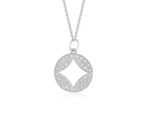 Cut-out Diamond Studded Round Pendant in 14K White Gold (1/3 ct. tw.)