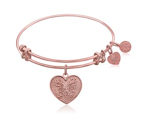 Expandable Pink Tone Brass Bangle with Heart Symbol