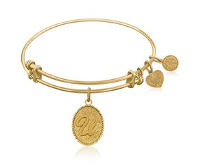 Expandable Yellow Tone Brass Bangle with Initial U Symbol