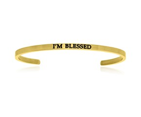 Yellow Stainless Steel I'm Blessed Cuff Bracelet