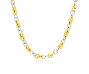 Multi-Style Round Link Necklace in 14K Two-Tone Gold