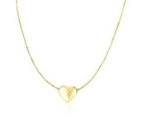 Puffed Sliding Heart Charm Necklace in 14K Yellow Gold