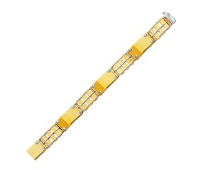 Wide Screw Accented Bar Links Men's Bracelet in 14K Two-Tone Gold