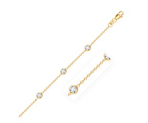 Round White Cubic Zirconia  Anklet in 14K Yellow Gold