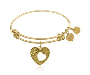 Expandable Yellow Tone Brass Bangle with Mother's Special Love Symbol