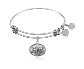 Expandable White Tone Brass Bangle with Dragonfly Life Changes Symbol