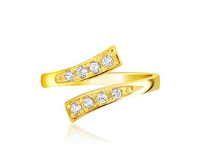 Contemporary Toe Ring with Cubic Zirconia Accents in 14K Yellow Gold