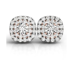 Cushion Shape Halo Diamond Earrings in 14K White and Rose Gold (3/4 ct. tw.)