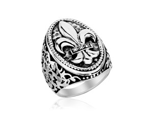 Diamond Embellished Oval Fleur De Lis Ring in Sterling Silver