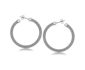 Dome End Popcorn Hoop Earrings in Rhodium Plated Sterling Silver