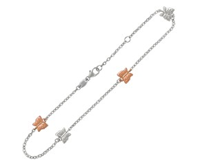 Butterfly Stationed Anklet in 14K Rose Gold and Sterling Silver