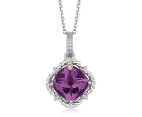 Cushion Amethyst and Diamond Accented Rope Style Pendant in 18K Yellow Gold and Sterling Silver