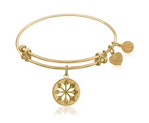 Expandable Yellow Tone Brass Bangle with Enamel Flower Symbol