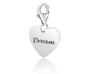 Heart DREAM Charm in Sterling Silver
