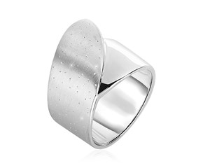 Textured Fold-Over Style Ring in Sterling Silver