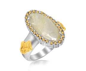 Oval Golden Rutilated Quartz and Citrine Fleur De Lis Ring in 18K Yellow Gold and Sterling Silver