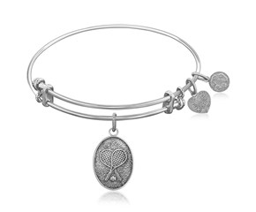 Expandable White Tone Brass Bangle with Tennis Symbol