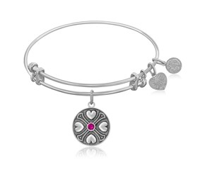 Expandable White Tone Brass Bangle with Ruby July Symbol