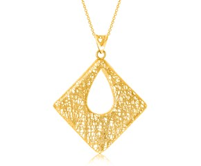 Open Diamond Shape Wire Mesh Style Pendant in 14K Yellow Gold