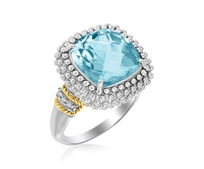 Popcorn Cushion Sky Blue Topaz and Diamond Ring in 18K Yellow Gold and Sterling Silver (.05ct tw)