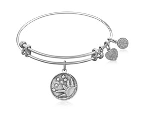 Expandable White Tone Brass Bangle with Sun, Moon And Stars Symbol