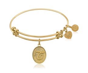 Expandable Yellow Tone Brass Bangle with Initial T Symbol