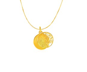Two Layer Tree of Life Pendant in 14K Yellow Gold
