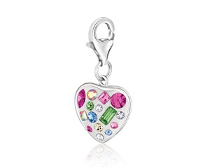 Heart  Multi Tone Crystal Embellished Charm in Sterling Silver