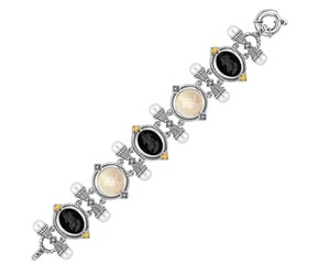 Venetian Cameo Black and Crystal Chain Bracelet in 18K Yellow Gold and Sterling Silver