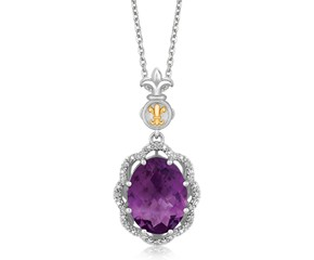Ornate Oval Amethyst and Diamond Accented Fleur De Lis Motif Pendant in 18K Yellow Gold and Sterling Silver (.03 ct. tw.)