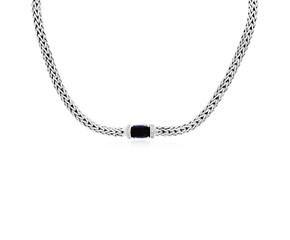 Black Onyx and White Sapphire Accented Woven Chain Necklace in Sterling Silver
