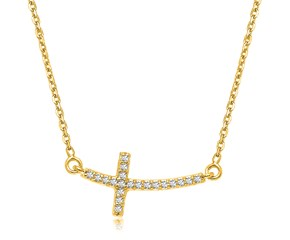 Curved Diamond Embellished Cross Necklace in 14K Yellow Gold (.11ct tw)