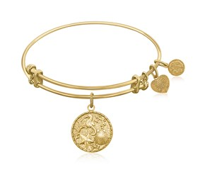 Expandable Yellow Tone Brass Bangle with The Sea Symbol
