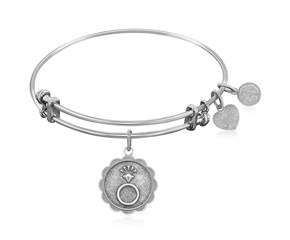 Expandable White Tone Brass Bangle with Engaged Commitment Symbol