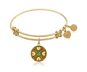 Expandable Yellow Tone Brass Bangle with Emerald May Symbol