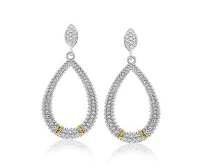 Diamond Accented Graduated Teardrop Popcorn Earrings in 18K Yellow Gold and Sterling Silver (.13ct tw)