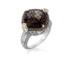 Smokey Quartz and Coffee Diamond Embellished Cushion Ring in 18K Yellow Gold and Sterling Silver (.23 ct. tw.)