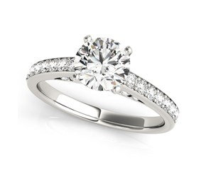 14K White Gold Single Row Prong Set Round Diamond Engagement Ring (1 3/8 ct. tw.)